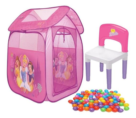 Barraca Com Bolinha Infantil Casa Princesa Rosa Cadeira 25kg