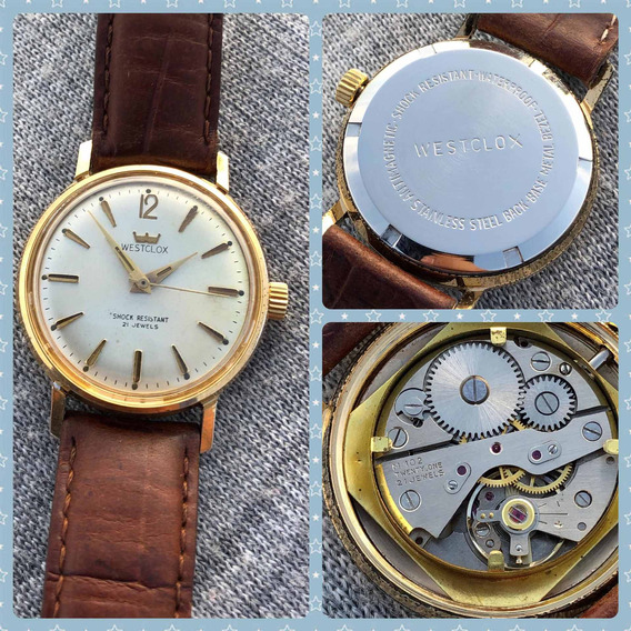 Reloj Westclox Vintage Cuerda Aluminio Color Oro 21 Joyas Ho