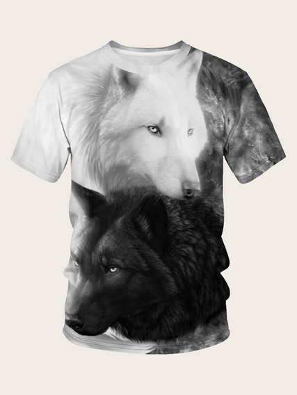 Playera 3d Sublimada Full Print Hombre, Lobo Doble