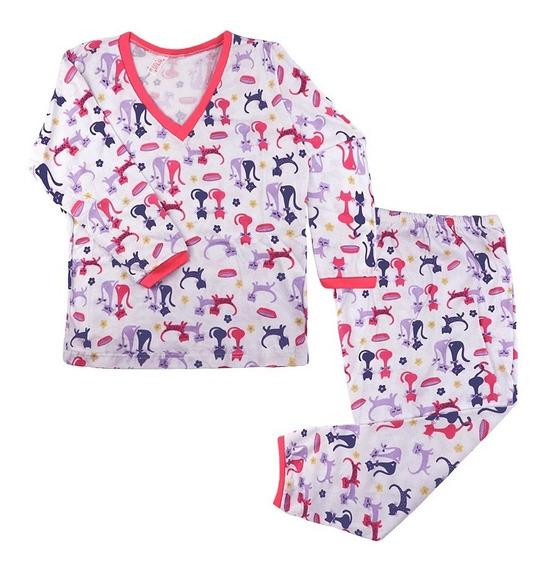 Kit 10 Pijamas Estampados Menina Infantil