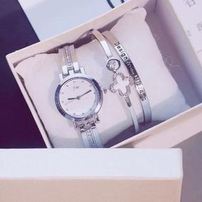 Relógio Feminino Casual Elegante Com Pulseiras #presente