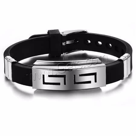 Pulseira Bracelete Em Silicone Com Metal Cromado Prata Novo