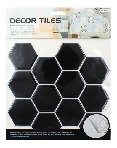Azulejos Vinil Adhesivo Venecitas 3d Negro 25.5x25.5cm 1037