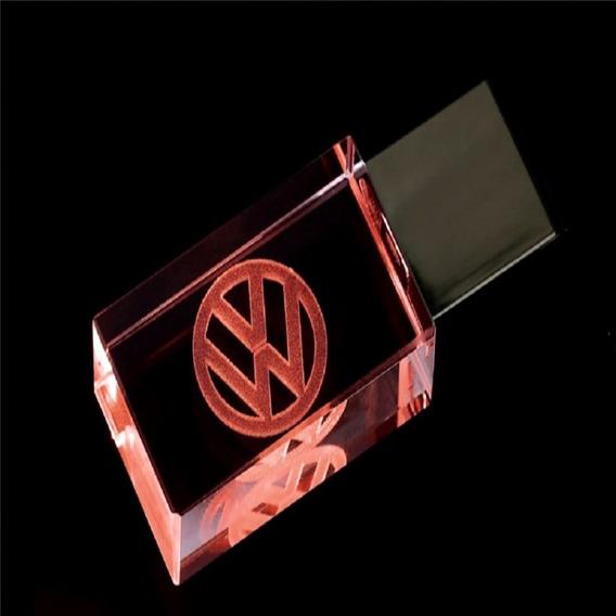 Pen Drive 16gb Cristal Led Volkswagen Vermelho + Estojo