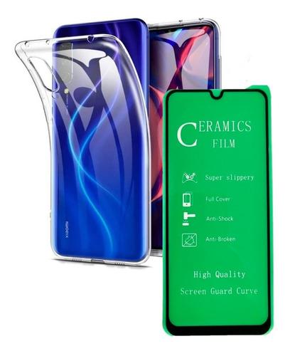 Carcasa Goma Clear Xiaomi Mi A3 + Vidrio Templado 5d