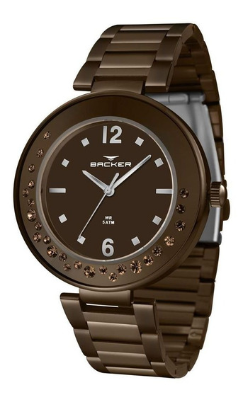 Relógio Backer Feminino Ref: 12045113f Mr Fashion Chocolate