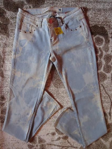 Calça Jeans Skkiny Marmorizada Da Shops