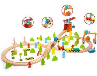 Tren De Madera Con Vias 75 Piezas Como Thomas Classic World