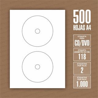 Etiquetas De Cd / Dvd En Hojas A4 Para Impresoras 500 Hojas