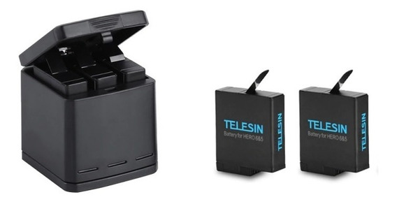 Carregador Triplo Telesin + 2x Baterias Gopro Hero 5 6 7 Nf