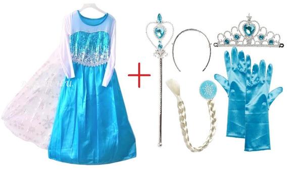 Disfraz Vestido Frozen Elsa + Guante, Trenza, Corona Y Cetro