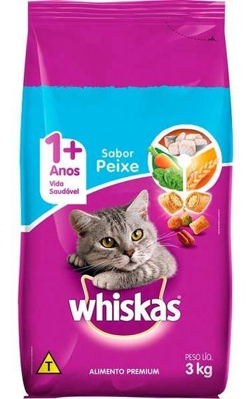 Ração Whiskas Para Gatos Adultos 3kg - Sabor Peixe