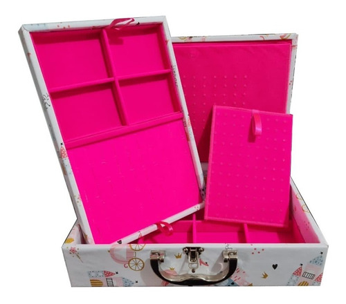 Maleta Estojo Porta Jóias Grande Dupla Vários Modelos Pink