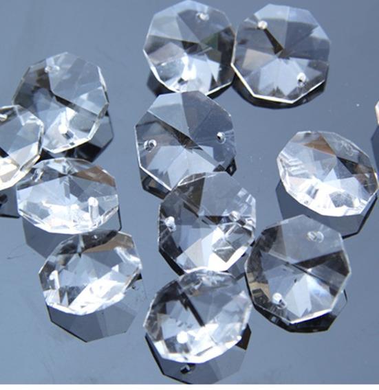 Lote De 50 Octagonales De Cristal 14mm Para Cortina Candil