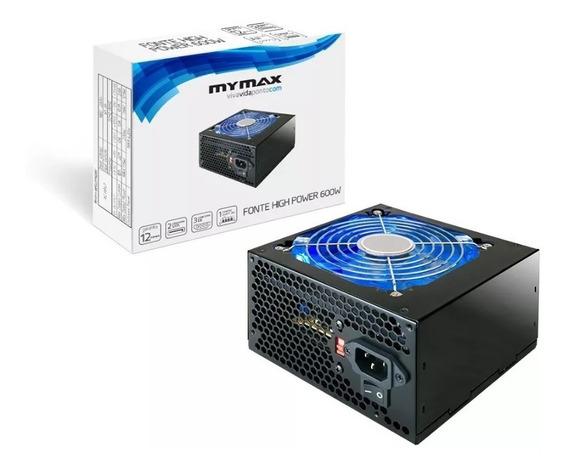 Fonte Atx 600w Real 24 Pinos 2 Sata High Power Mymax