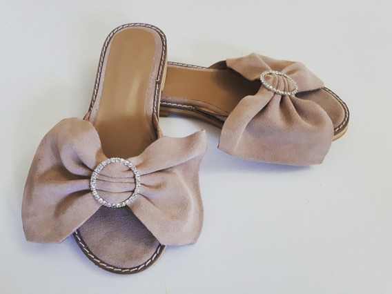 Chatas Moño Hebilla Cuero Mujer Zapatos Verano Original