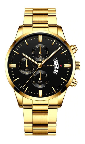 Relógio Luxo Masculino Cuena Dourado Homem