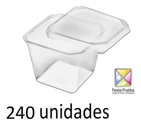 Pote Quadrado 250ml Com Tampa Freezer Microondas