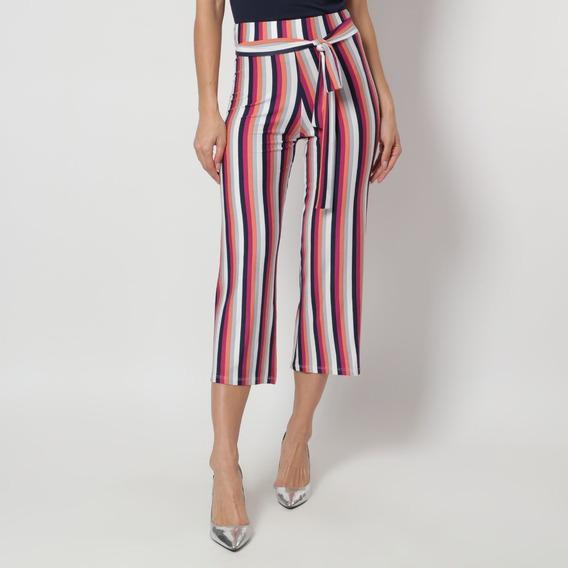 Pantalón Con Diseño De Líneas Fucsia, Azul Marino Y Blanco