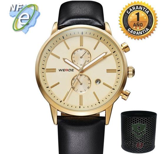Relógios Masculinos Couro Original Analógico Preto Casual Nf