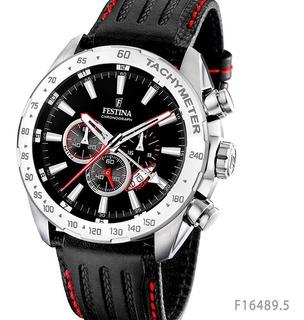 Reloj Festina Crono Malla De Cuero Sumergible F16489