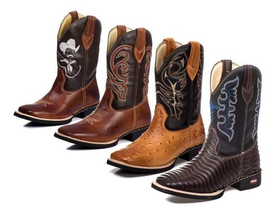 Kit 4 Botas Country Texana Masculina Couro Legítimo