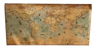 Poster Mapa Mundial Vintage Retro Mundi Mapamundi Decorativo