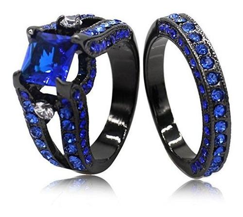 Negro Azul Princesa Cut Cubic Zirconia Anillo De Boda Juego