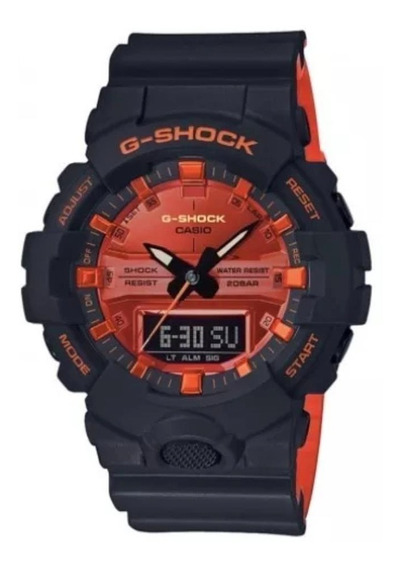Relogio Casio G-shock Ga-800br-1 Fundo Laranja Caixa Menor