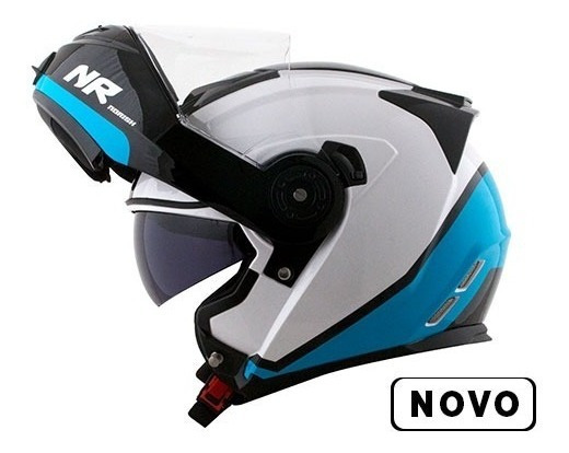 Capacete Norisk Ff345 Route Chance Branco / Azul Promoção