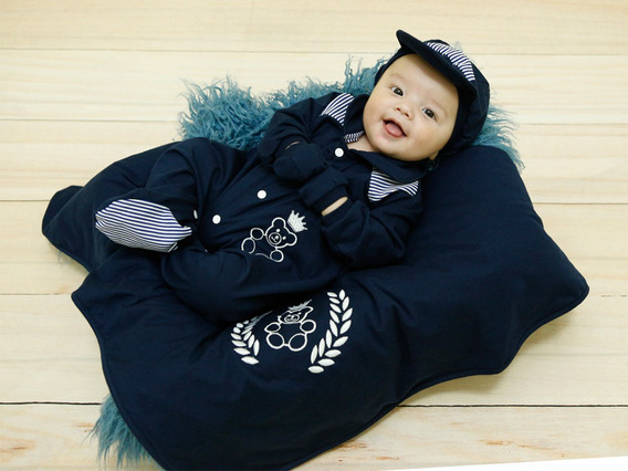 Kit Saída De Maternidade Azul Marinho Bebê P/ Seu Príncipe