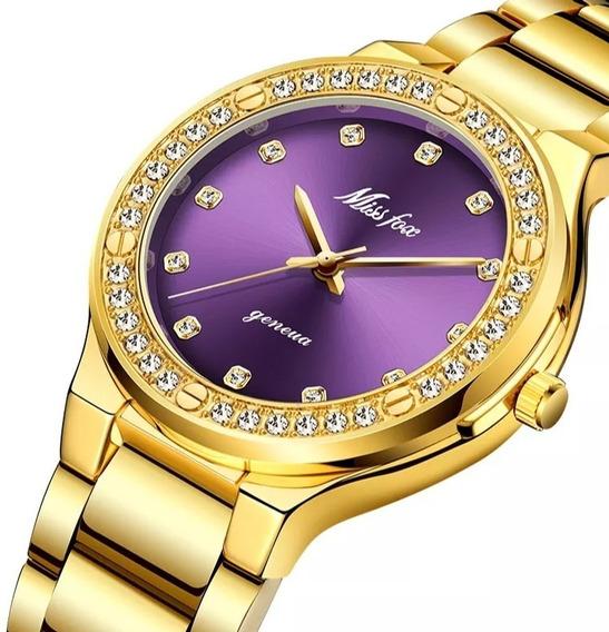 Relógio Original Miss Fox, Banhado A Ouro 18k.