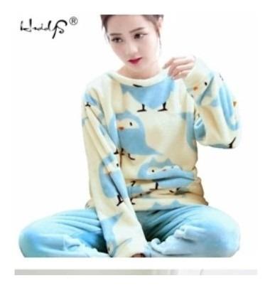 Pijama Adulto Mujer Pájaro Oso Invierno Térmica Navidad