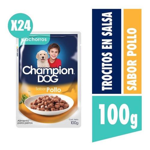 Champion Dog Trocitos En Salsa Cachorro Sabor Pollo 24x100g