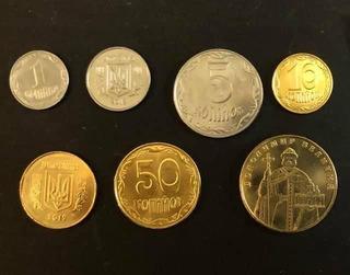Colección De 7 Monedas De Ucrania Actuales