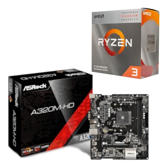 Kit Processador Ryzen 3 3200g + Placa Asrock A320m Hd