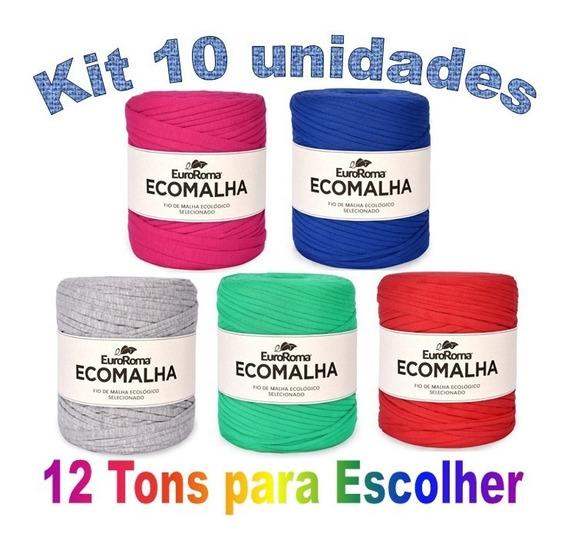 Fio De Malha Ecomalha Euroroma 80m Crochê Kit Com 10