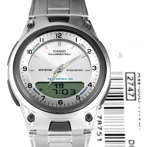 Relógio Casio Masculino Anadigi Aw-80d-7avdf Pulseira Aço