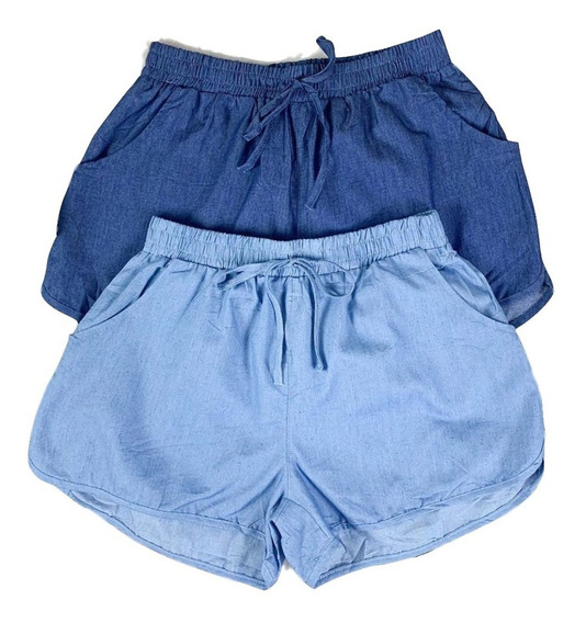 Shorts Feminin Jeans Cintura Elástico Bolsos Verão Importado