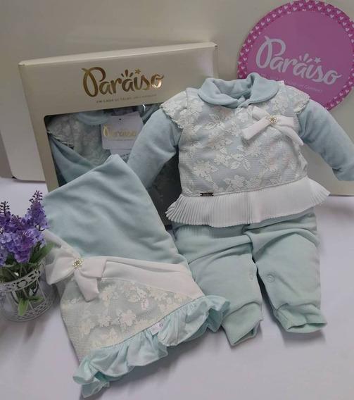 Saida Maternidade Paraiso Plush Bebê Menina Macacão Ref 8331