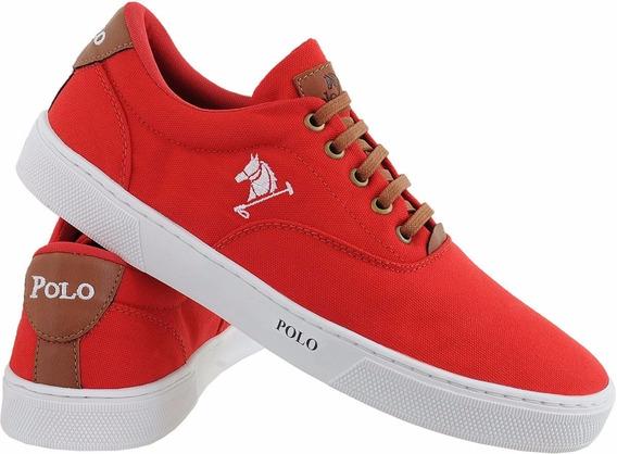 Sapatenis Masculino Polo Sapato Vermelho/branco