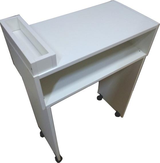 Mesa Manicure 60cm Com Rodas E Compartimento
