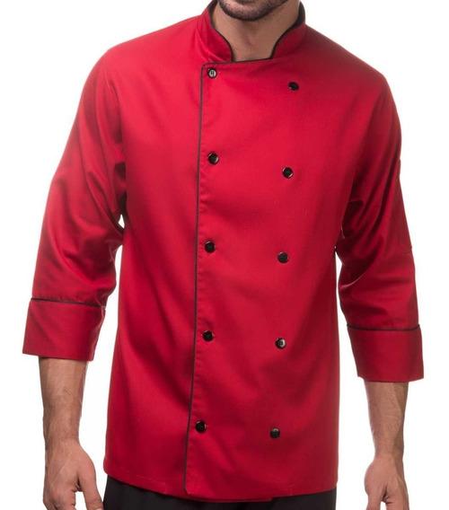 Jaqueta De Chef Vermelha Personalizada Nome E Bandeiras