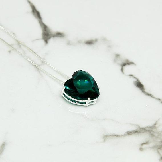 Colar De Prata 925 Com Pingente De Coração Verde