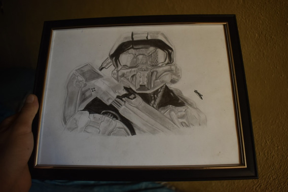 Dibujo Hecho A Lapiz De Master Halo
