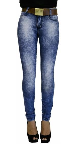 Calça Jeans Manchada Zigma Com Cinto, Levanta Bumbum