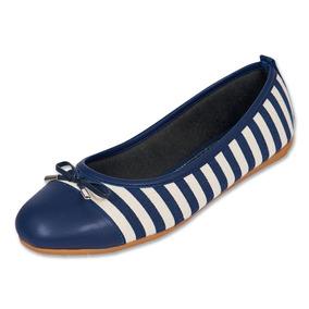 Calzado Dama Mujer Zapato Flat Casual Textil Marino Comodo