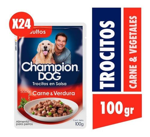 Champion Dog Trocitos En Salsa Carne Y Vegetales 24x100g