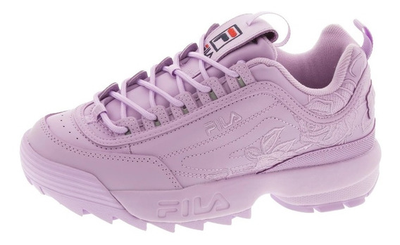 Tenis Casuales Mujer Disruptor 2 Lila Floreados Embroidery