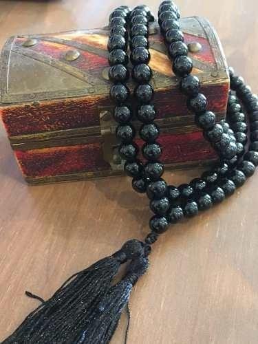 Japamala Terço Budista Tibetano Pedra Ágata Negra C/ 108